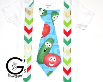 Veggie Tales Christmas Shirt Cake Smash Birthday Outfit baby boys Toddler Photo Prop