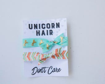 Unicorn Hair Don't Care, hair ties, Birthday Party Favors, Unicorn BIrthday, Fun Kids Gifts, Little Girl Birthday, Unicorn Gift, goodie bags