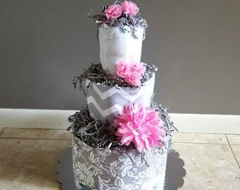 Diaper Cake/ Girl Diaper Cake/ Diaper Cakes/ Girl Baby Shower Centerpiece/ Pink & Grey Diaper Cake/ Pink Diaper Cakes/ Diaper Cake Girls