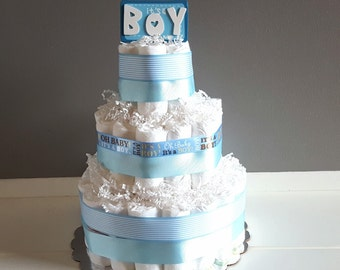 Diaper Cakes/ It's A Boy Diaper Cake/ Baby Boy Diaper Cake/ Blue Diaper Cake/ Baby Shower Decor/ Baby Gift/ Boy Diaper Cake/