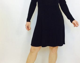 90s Black dress black mini dress little black dress LBD textured dress minimalist dress black short dress short black dress size s dress