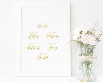 One Tree Hill | Gold Foil Print | Motivational Print | Brooke Davis | Typography Print | Gold Home Decor | Rose Gold | Silver Poster