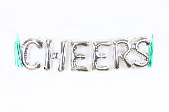 "16"" Silver CHEERS Balloon, Letter Balloon, Silver Balloon Banner, Bridal Shower, Photo Booth, Wedding Photo Prop, Silver Cocktail Cheers"