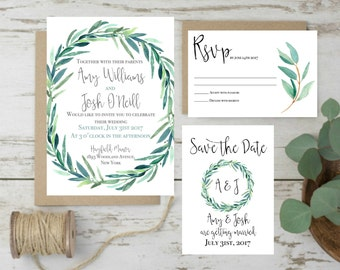 Green Wedding Invitation, Eucalyptus Wedding Invitation, Botanical Wedding Invitation, Rustic Wedding Invites, Wedding Greenery Invitation