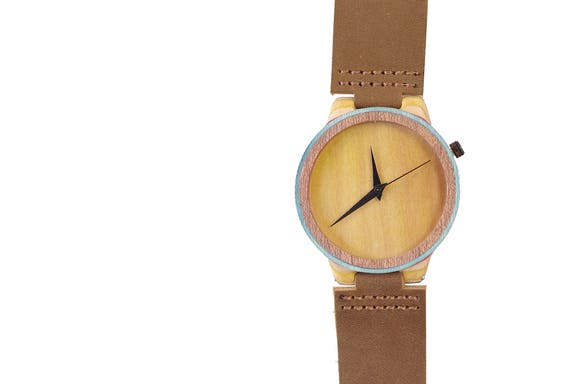 7PLIS watch #51 Recycled SKATEBOARD #madeinfrance yellow brown green wood