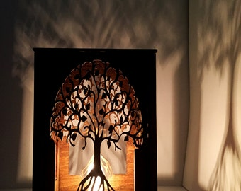 FREE SHIPPING* - Table lamp - lamp - desk light - laser cut wood lamp - laser cut table lamp - night light - lantern - tree of life