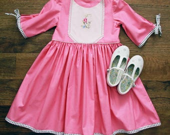 Sz6 Candy Pink Tea Party Dress with sleeves