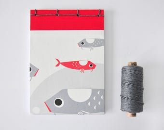 Small Japanese Notebook, hand bound, fish, silver, red, white, stab binding - Journal, Diary, Sketchbook, Travel Book