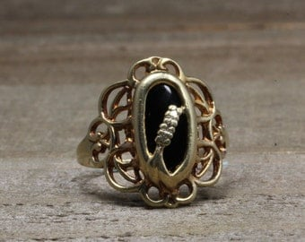 Estate, 10K Yellow Gold Ring With Diamonds and Onyx