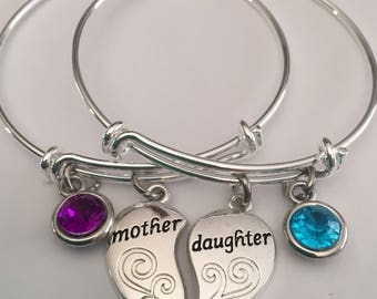 Mother daughter bracelet bangel bracelet-Two silver plated bracelets with  stone and mother and daughter charms