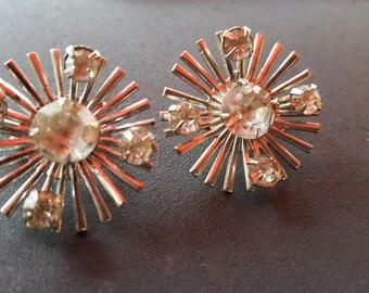 Vintage Atomic Starburst Rhinestone Celebrity Clip Earrings