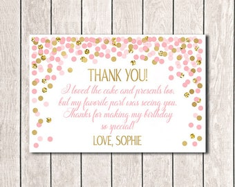 4x6 Thank You Cards Personalized Thank You Cards Custom Thank You Cards Printable Pink And Gold Confetti Birthday Thank You Cards
