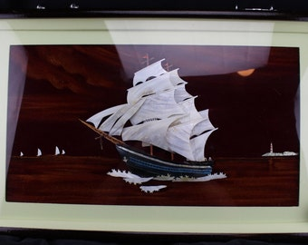Vintage Asian Shadow Box Wall Hanging Mother Of Pearl Ship on Black Velvet