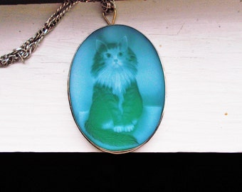 SALE###Antique Victorian Blue Agate solid silver Persian Cat Cameo pendant with old silver chain 16.75