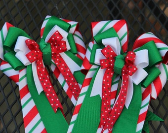 Holiday Stripe Horse Show Bows