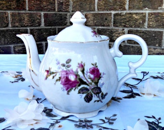"""Vintage Teapot, """"Pompadour Rose"""" by Lipper and Mann, Porcelain, Dark Pink Roses, 3 Cup English Style Teapot, Mid Century, Circa 1950s"""