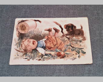 Antique Victorian Trade Card by J & P Coats Thread, Child with Dog, Collectible Lithograph Advertisement, Circa 1890s