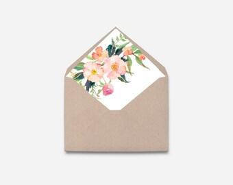 Envelope Liner, Watercolor Flower, DIY (576)