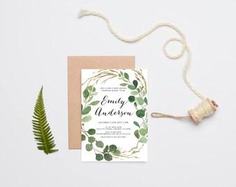 Baby Shower Invitation, Gender Neutral, Eucalyptus, Watercolor Green Leaves, Printable Invite (1007)