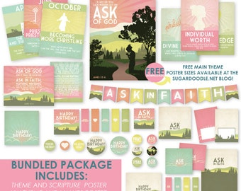 2017 LDS Mutual Theme Young Women Bundled Package - Ask of God - Ask in Faith - Printable Kit - MB