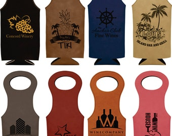Leatherette Wine Bag, laser engraved wine bottle holder, personalized wine holder, personalized wine gift