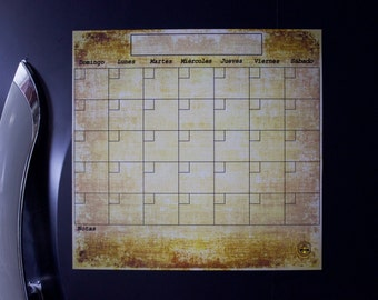 Spanish Monthly Dry Erase Calendar, Bronze, Magnetic Refrigerator Calendar, Spanish Calendar, Spanish Perpetual  Planner