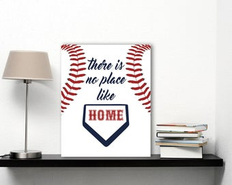 Baseball Art, No Place Like Home Wall Art, Boston Red Sox Baseball Home Plate Art, Sports Quote Print, Baseball Fan Art Dark Blue Red Poster