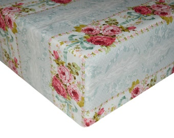 Vintage Baby Bedding, Shabby Chic Crib Bedding, Vintage Crib Sheet, Floral Changing Pad Cover