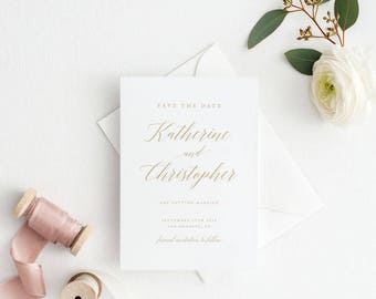 Printable Save The Date Printable - Modern Romantic CalligraphyWedding Save the Date PDF - Letter or A4 Size (Item code: P478)