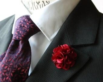 Lapel Pin - boutonniere - Flower - Crimson Satin - men flower lapel pin, Dapper Men, Dandy, Wedding Groom