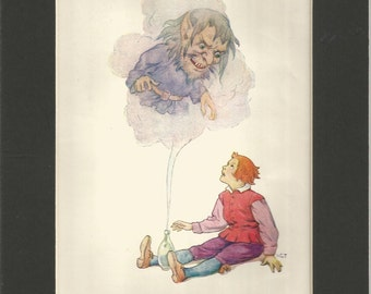 1920  children  print grimms fairy tales by harry g theaker,  vintage children wall art