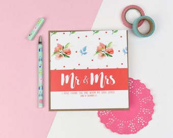 Mr and Mrs/ wedding luxury card