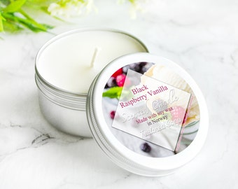Black Raspberry Vanilla Home Fragrance - Soy Candle - White Candle - Handmade Candles - Soy Candles For Sale - Vanilla Scented Soy Candles