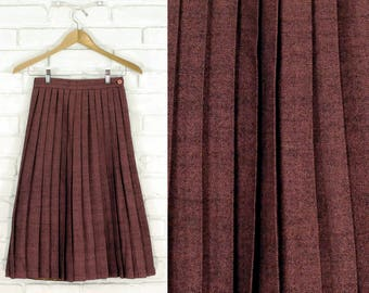 70s High Waist Pleated Midi Skirt Size Small S 2