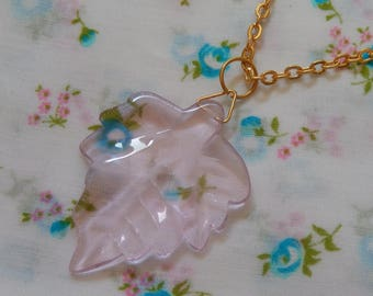 Pink Leaf Glass Translucent Pendant Necklace