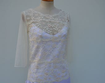 Top long sleeve lace married, cache shoulder ivory lace cocktail, cropped top ivory lace