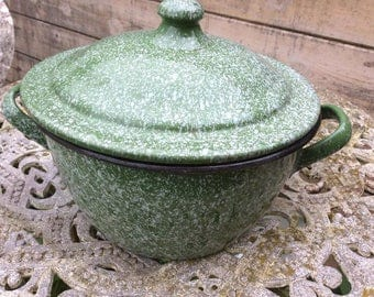 Old Enamel Green & White Speckled Cooking Pot with Lid c1950 Graniteware,Kitchenalia,Vintage