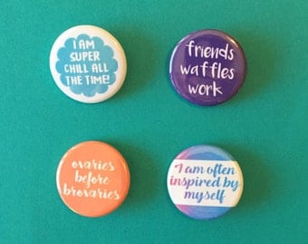 Parks and Rec / Leslie Knope Quote Pinback Buttons