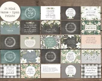24 Verse + Hymn Mini Prints, Scripture Cards, Hymn Prints, Farmhouse Style