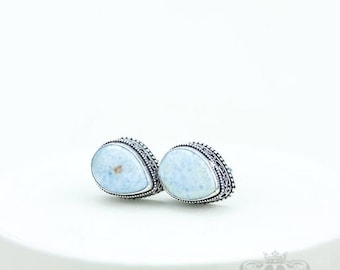 Tear Drop Caribbean Larimar Vintage Filigree Antique 925 Fine S0LID Sterling Silver Men's / Unisex CUFFLINKS k750