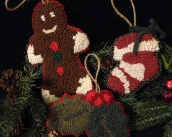 Primitive Christmas Ornaments~ Hand Hooked Decorations, Gingerbread Man, Stocking, Holly, Hand Dyed Wool, Christmas Tree Decorations