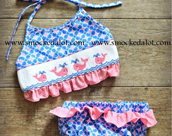 Smocked Girls Whale Swimsuit- Aqua Blue/Pink Polka Dot Bikini 2-piece swim suit Beach