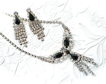 Vintage Rhinestone Necklace Set Vintage Jewelry Black Rhinestone Necklace Set VA-191