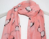 Penguin Scarf Light Pink Penguin Scarf Gift For Women Gift For Her Pink Scarf Pink Accessory Summer Scarf Penguins Sea Life