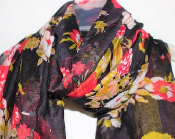 Flower Scarf, Black Flower Scarf, Gift For Her, Womens Gift, Floral Scarf, Summer Scarf, Multi-coloured, Scarves, Flowers, Flower Accessory