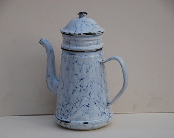 Vintage French enamelware coffee pot, jug,  white and blue marble effect enamel, in   vintage condition, circa 1940