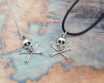 Crossbones Necklace, Skull Jewellery, Pirate Jewelry, Nautical Fashion, Gothic Jewelry, Pirate Gift, Mens Necklace, Skull And Crossbones