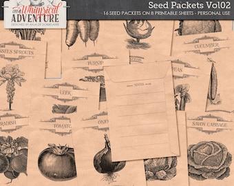 Harvesting Seeds From Vegetables, Seed Savers, Digital Collage Sheet, Instant Download, Printable Seed Envelope, Harvest, For The Garden