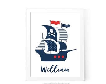 Nursery Wall Art, Pirate Boat Print, Pirate Nautical Ship, Nautical Nursery Print, Custom Name Print, Baby Room Decor, Boy Room Decor, D82-3
