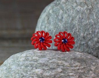 Red Flower Earrings with blue Stones, Flower Studs, Holiday Gift for Her, Red Stud Earrings, Colorful Earrings, red Post Earrings, Red Studs